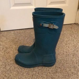 Hunter Teal youth girls tall rain rubber boots 3-4
